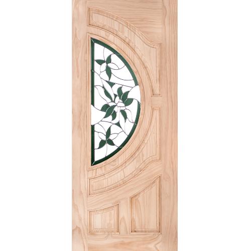 WINDOOR ประตู+กระจก  สนNz ขนาด  70x200 ซม. GLARING GREEN