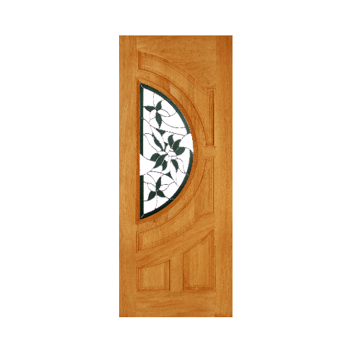 WINDOOR ประตู+กระจก สัก ขนาด 40x200 ซม.  GLARING GREEN S/L สีน้ำตาล