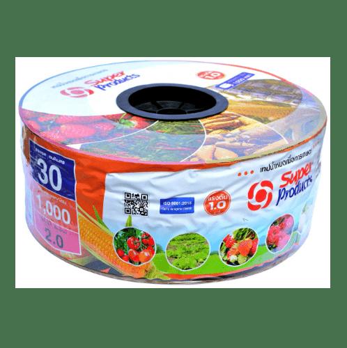 Super Products เทปน้ำหยด  30 ซม.  1,000 หลา 16 มม. 2 ลิตร/ชม. 2รู 0.15 มม. แดง