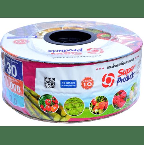 Super Products เทปน้ำหยด 30 ซม. 1,000 หลา 16 มม. 3 ลิตร/ชม. 2รู 0.15 มม. สีชมพู