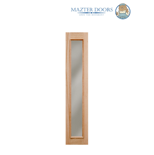 MAZTERDOOR ประตูไม้สยาแดงกระจกใสเต็มบาน ขนาด 40x200cm.