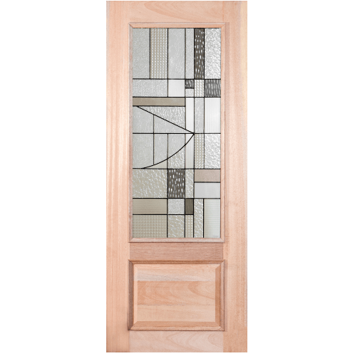MAZTERDOOR ประตูกระจกไม้สยาแดง ขนาด  90x200ซม.  LOTUS-13