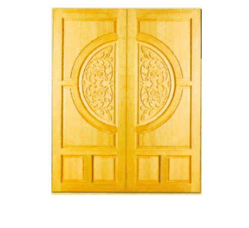 MAZTERDOOR  ประตูไม้เนื้อแข็งแกะลายดอกไม้ ขนาด  80x200ซม.      G955 ไม้ธรรมชาติ