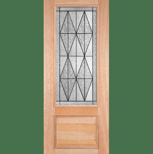 MAZTERDOOR ประตูไม้สยาแดงลูกฟักพร้อมกระจก ขนาด  80x200cm.   LOTUS-14
