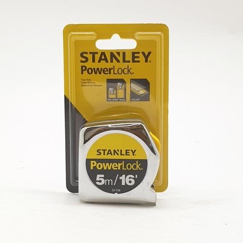 STANLEY ตลับเมตร POWERLOCK 5m.  33-158 สีโครเมี่ยม