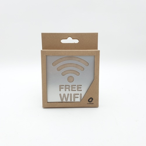 C Signage ป้ายอลูมิเนียม ประกบไม้ (Free Wifiขนาด9x9cm.) CSWSS-006