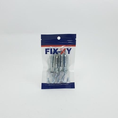 FIX-XY พุกตะขอเหล็กยิบซั่ม 5x58mm.  EO-002 (4ชิ้น/แพ็ค)  สีโครเมี่ยม