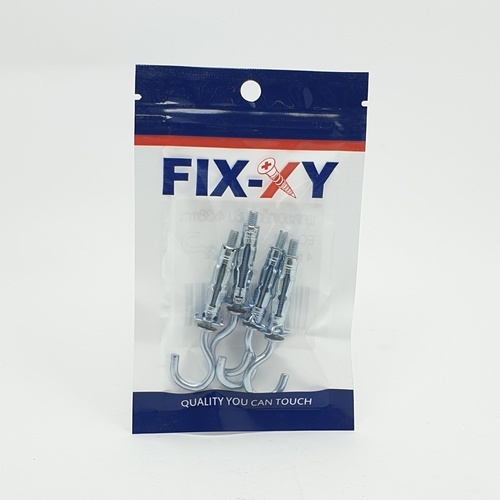 FIX-XY พุกตะขอเหล็กยิบซั่ม ขนาด 4x38mm.  EO-001 (4ชิ้น/แพ็ค)  สีโครเมี่ยม