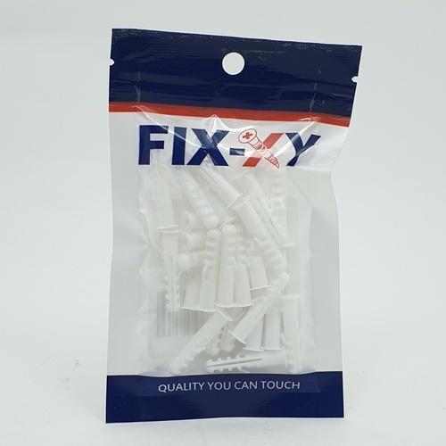 FIX-XY พุกพลาสติก เบอร์6 EN-022-S  (30ชิ้น/แพ็ค)  สีขาว