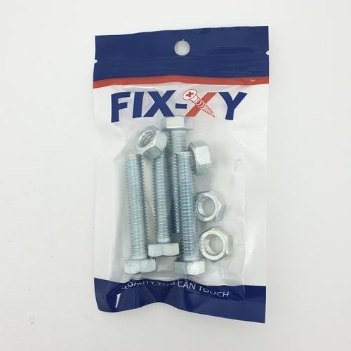 FIX-XY สกรูเกลียวมิล 3/8 x2 ( 4 ชิ้น / แพ็ค ) EF-010 สีโครเมี่ยม