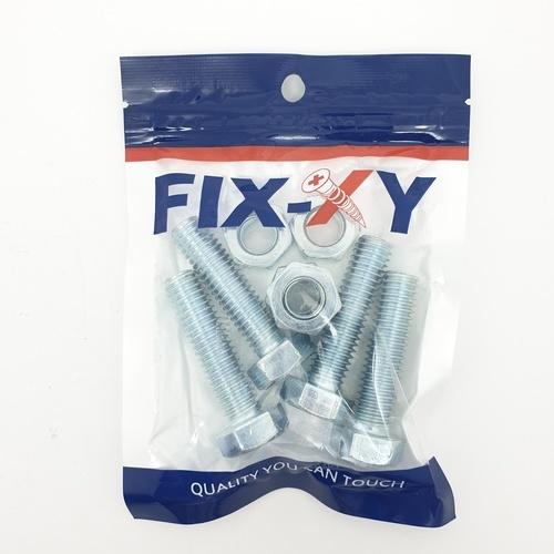 FIX-XY สกรูเกลียวมิล 1/2x2 (4ชิ้น/แพ็ค) EF-023 สีโครเมี่ยม