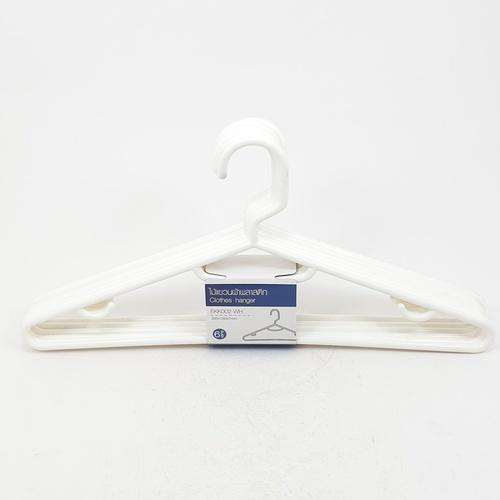 LUXUS ไม้แขวนผ้าพลาสติก   EKK002 6ชิ้น/แพ็ค  สีขาว