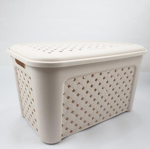 SAKU ตะกร้าผ้าพลาสติกฝาปิด  ขนาด 38x58x33 ซม.สีน้ำตาลครีม  DYS040