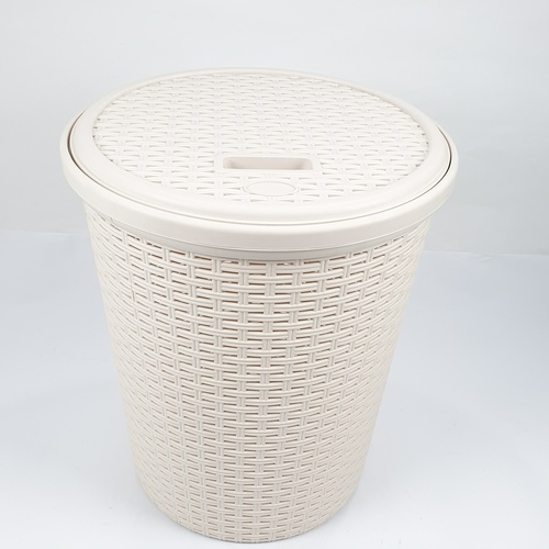 SAKU ตะกร้าผ้าพลาสติกกลม มีฝาปิด ขนาด 27x36x40 ซม. DYS044 สีครีม