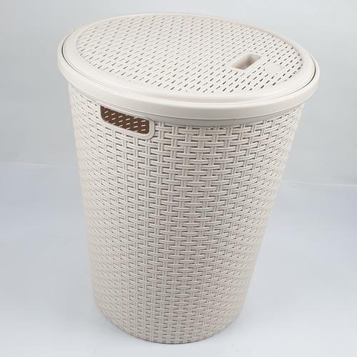 - ตะกร้าผ้าพลาสติกกลม มีฝาปิด  ขนาด 31.50x42x50 ซม.  DYS045 สีครีม