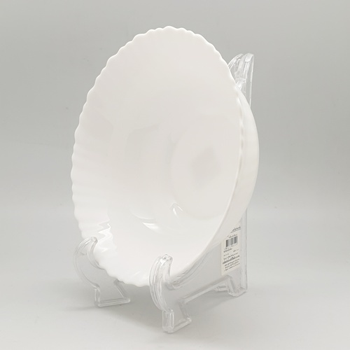 ADAMAS จานโอปอลขอบริ้ว 8 HBDW80-H0 สีขาว