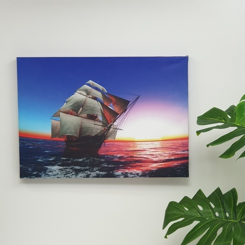 NICE รูปภาพพิมพ์ผ้าใบ Fengshui  ขนาด  70x50 ซม. (ก.xส.) (เรือใบสีครีม) C7050-10