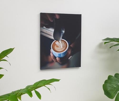 NICE รูปภาพพิมพ์ผ้าใบ Coffee Shop ขนาด 40x50ซม. (ก.xส.) ( รินนมใส่ถ้วยกาแฟ) C4050-2