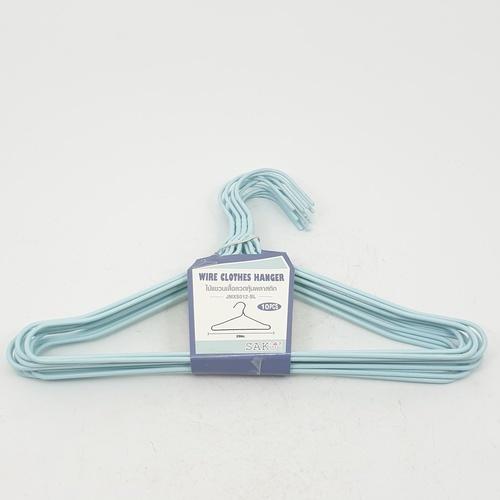 SAKU ไม้แขนเสื้อลวดหุ้มพลาสติก แพ็ค 10 ชิ้น  JMXS012-BL สีฟ้า