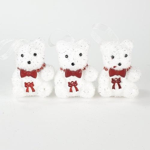 COZY ตุ๊กตาหมีตกแต่งต้นคริสต์มาส  3ชิ้น/แพ็ค ขนาด 5.5x5.0x7ซม.  AG19-066 สีขาว
