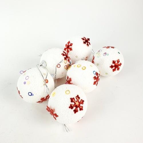 COZY ลูกบอลประดับต้นคริสต์มาส 6ชิ้น/แพ็ค  ขนาด 6x6x7ซม.  MA2514 สีขาว