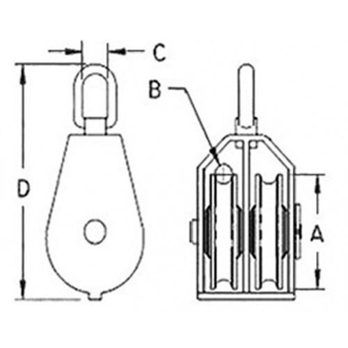 HUMMER รอกคู่ ขนาด 1-1/2 นิ้ว  BT-0176 สีเงิน