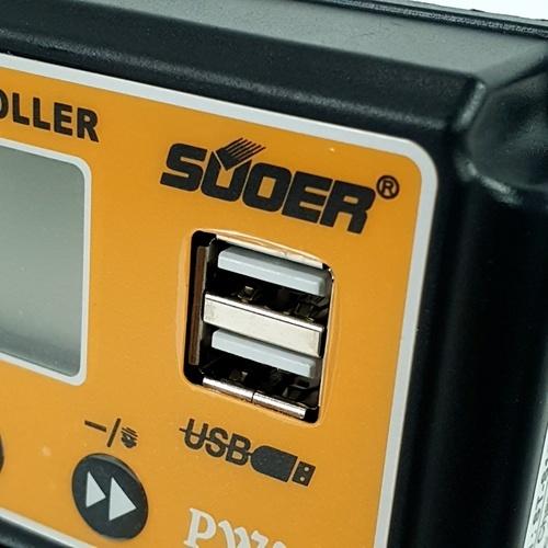 SUOER คอนโทรลชาร์จโซล่าเซลล์ PWM จอแสดงผล LCD 20A  ST-S1220 สีเหลือง