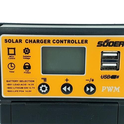 SUOER คอนโทรลชาร์จโซล่าเซลล์ PWM จอแสดงผล LCD 30A ST-S1230 สีเหลือง