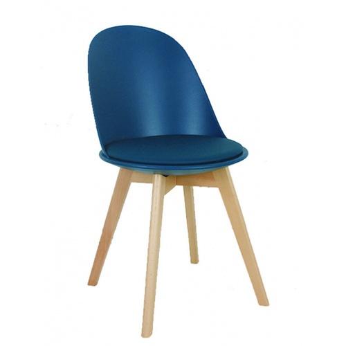 Pulito เก้าอี้พลาสติกเบาะหนังขาไม้ ขนาด 55.5x46.5x86ซม.สีฟ้าน้ำทะเล PP-692-01-G05