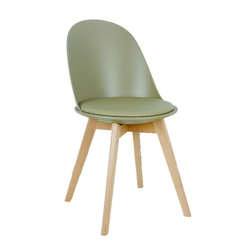 Pulito  เก้าอี้พลาสติกเบาะหนังขาไม้ ขนาด 55.5x46.5x86ซม. PP-692-01-GR03 สีเบจ