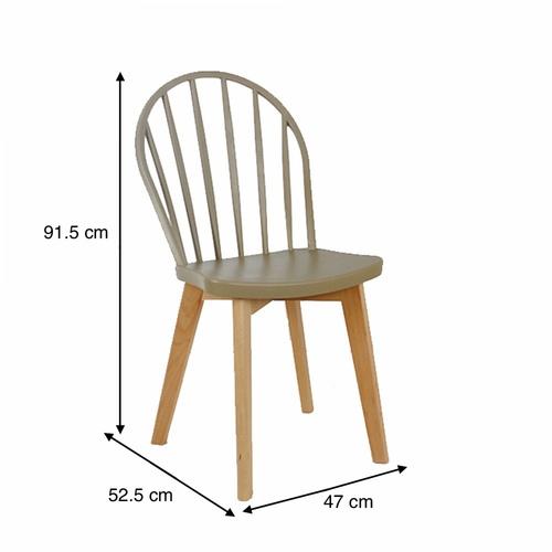 Pulito เก้าอี้พลาสติกขาไม้  ขนาด 52.5x47x91.5ซม. PP-698A-GR03 สีเบจ