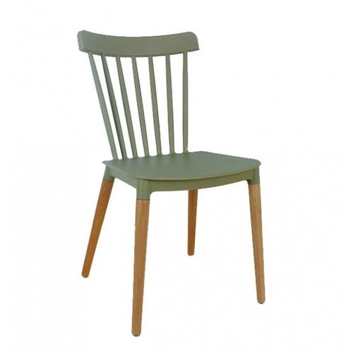 Pulito เก้าอี้พลาสติกขาไม้  ขนาด 54x43x84ซม.  PP-687-GR03 สีเบจ