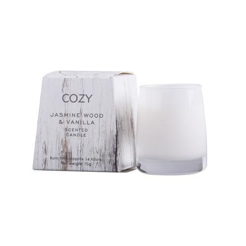 COZY  เทียนหอม ขนาด  8x7.7ซม.   Jasmine Wood & Vanilla-S สีขาว