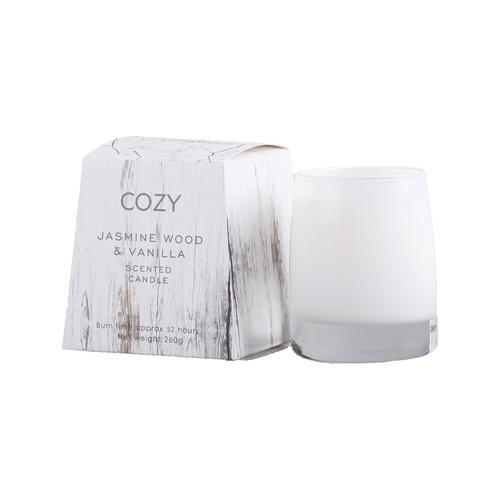 COZY เทียนหอม  ขนาด 10.5x10.7ซม.  Jasmine Wood & Vanilla-M  ขาว