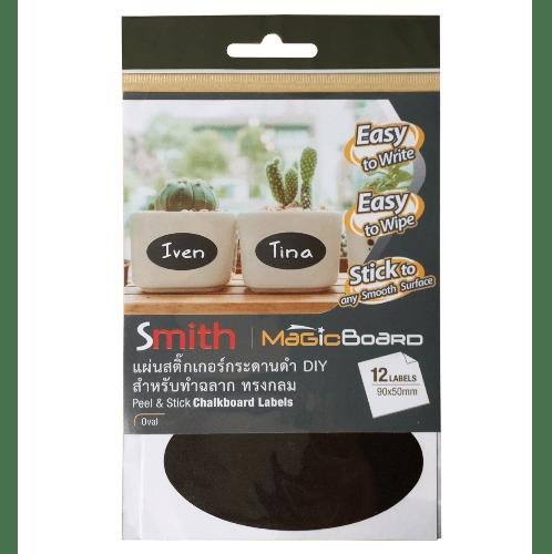 SMITH แผ่นสติ๊กเกอร์กระดานดำ DIY สำหรับทำฉลาก ทรงกลม  ขนาด 9x5cm  12050  (4แผ่นต่อแพ็ค) สีดำ