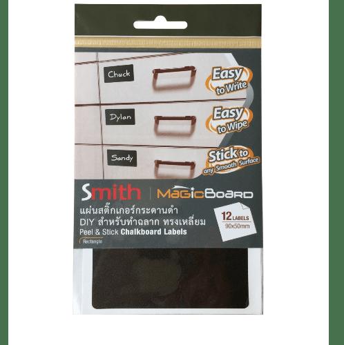 SMITH แผ่นสติ๊กเกอร์กระดานดำ DIY สำหรับทำฉลาก ทรงเหลี่ยม ขนาด 9x5cm  12051  (4แผ่นต่อแพ็ค) สีดำ