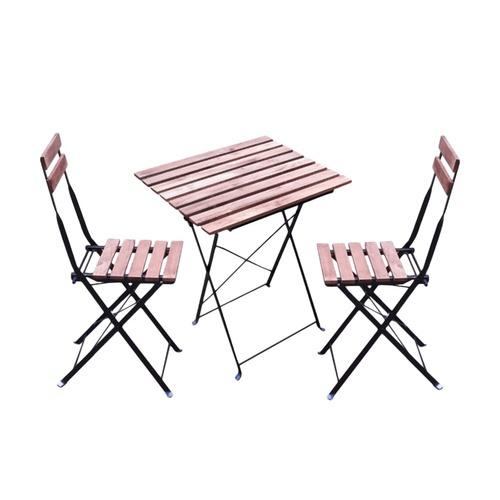 Tree O ชุดโต๊ะสนาม + เก้าอี้ไม้   ARK-MT02 สีน้ำตาลอ่อน