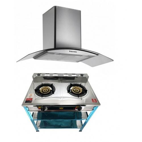 Koch Kitchen  เครื่องดูดควันติดผนัง 90ซม.+เตาแก๊สชั้น/หัวคู่ สเตนเลส  COQUINA1+SGI-04N