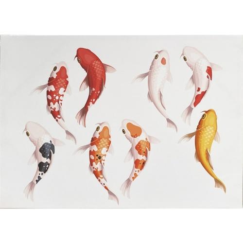 NICE ภาพพิมพ์ผ้าใบ Fengshui ขนาด 50x70ซม. กลุ่มปลาคราฟนำโชค  C7050-29