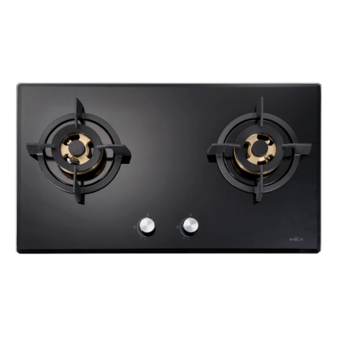 MEX เตาแก๊สกระจก 2 หัวทองเหลือง V7825C สีดำ
