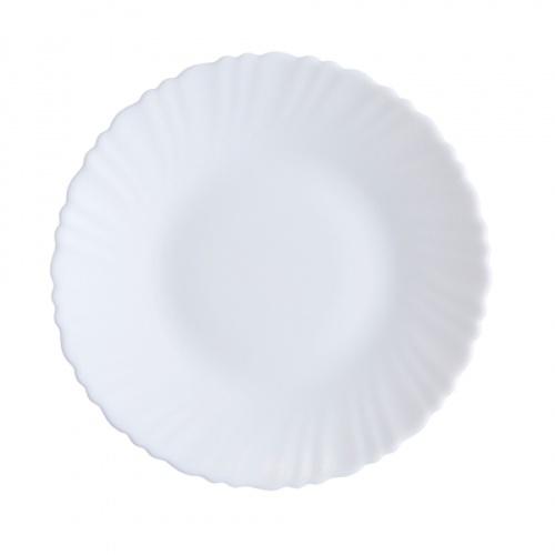 ADAMAS จานโอปอลขอบริ้ว ขนาด 8 นิ้ว HBQP80 สีขาว