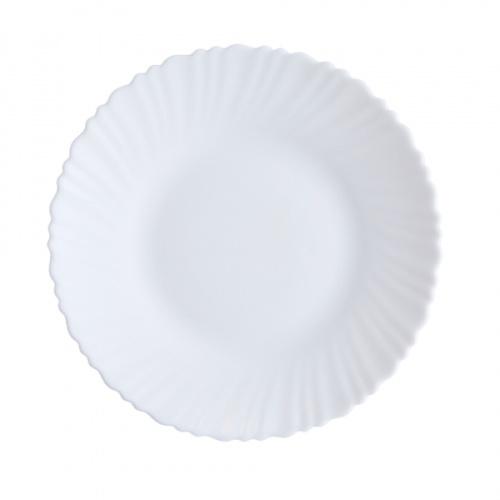 ADAMAS จานโอปอลขอบริ้ว ขนาด 10 นิ้ว HBQP100 สีขาว