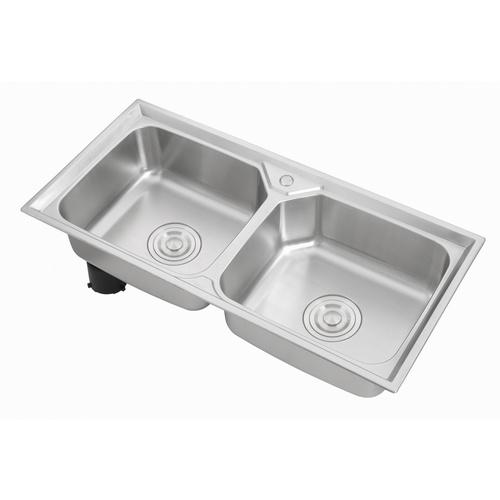 CROWN อ่างล้างจาน 2 หลุมไม่มีที่พัก ขนาด 100x48x22 ซม. WO10048
