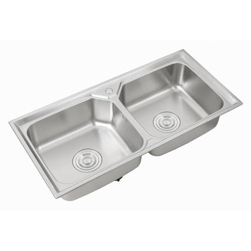 CROWN อ่างล้างจาน 2 หลุมไม่มีที่พัก ขนาด 100x48x22 ซม. WO10048**แถมฟรี 8855090028791 ของแถม -CROWN ของแถม ก๊อกอ่างล้างจานเคาน์เตอร์ GH-0092**