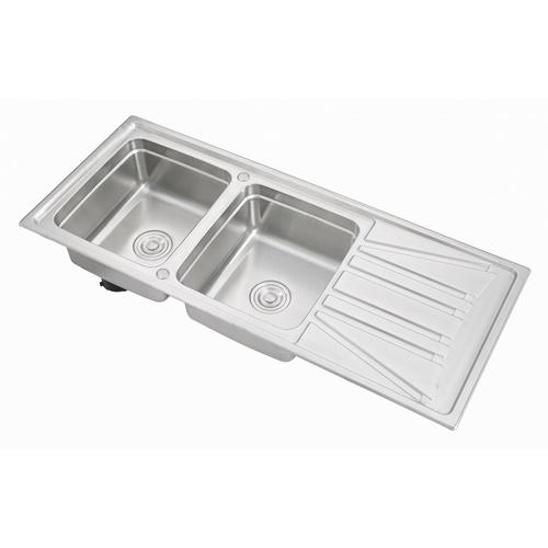 CROWN อ่างล้างจาน 2 หลุมมีที่พัก ขนาด 120x50x21 ซม. WDA12050C *แถมฟรี ก๊อกอ่างล้างจานเคาน์เตอร์ GH-0092*
