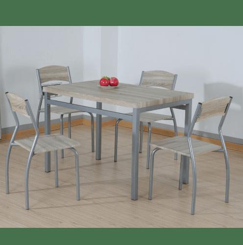 Delicato ชุดโต๊ะอาหาร 4 ที่นั่ง สีไม้โอ๊ค D01002C4