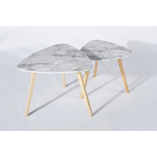 Delicato ชุดโต๊ะกาแฟลายหินอ่อน ขนาด 60x60x45ซม. และ 50x50x42 ซม.  Enamel  สีขาว