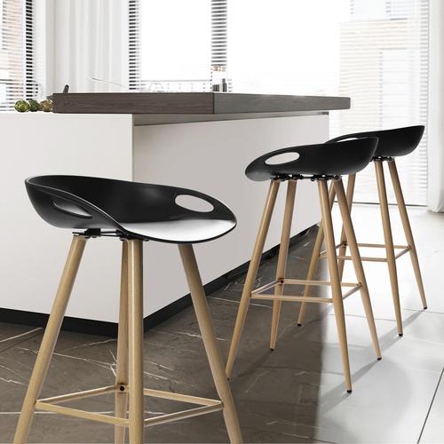 Pulito  เก้าอี้บาร์สตูลพลาสติก Fiyan PP  สีดำ