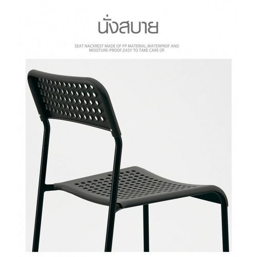 Delicato เก้าอี้พลาสติก  ขนาด 38.5×55.5×77ซม.   6022-A  สีดำ