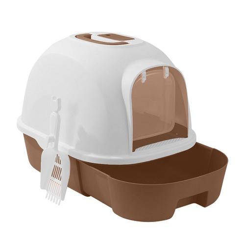 DUDUPETS  ห้องน้ำแมวทรงโดม พร้อมที่ตักทราย  ขนาด 41x41x53ซม. MSP-009T สีกาแฟ สีน้ำตาล